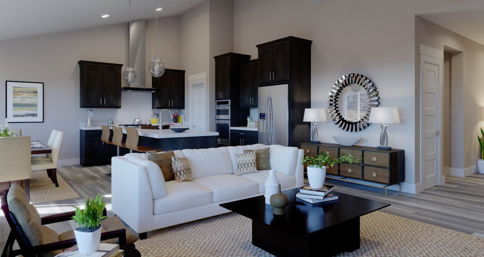 open floorplan kitchen and living room in gcd luxury home
