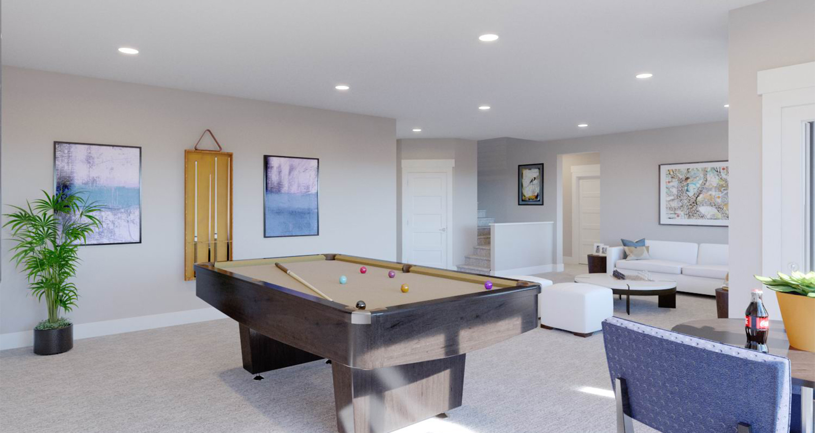 luxury game room in townhome basement