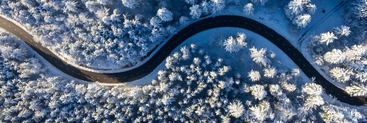 winding winter road with snow