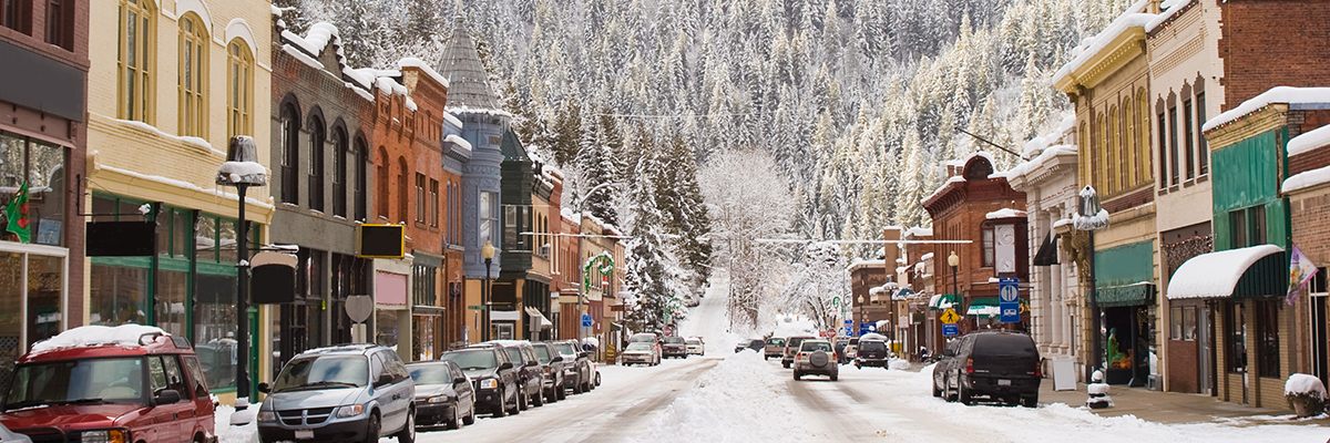 downtown park city utah in winter with snow