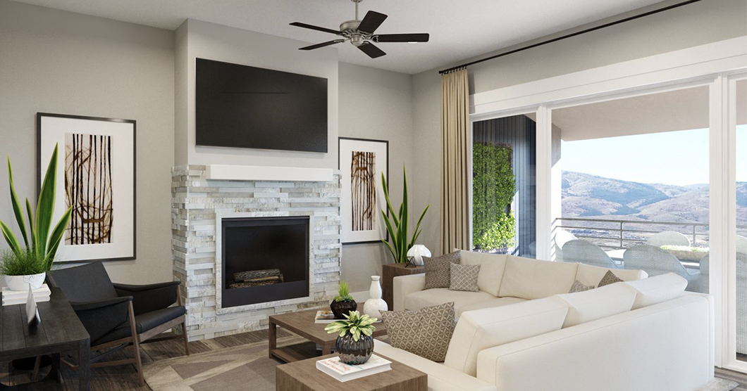 living room in luxury townhomes communities
