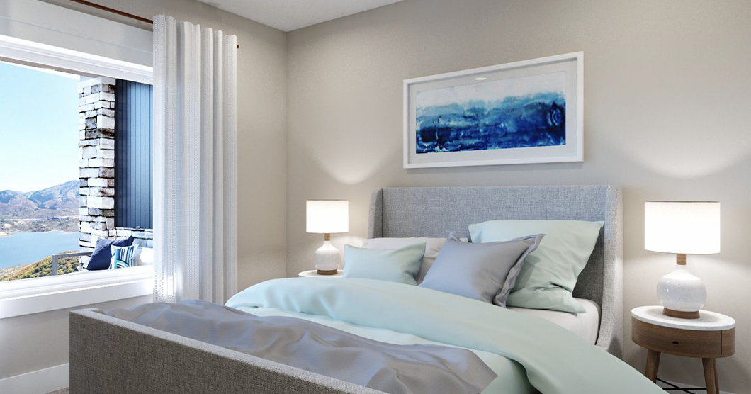 mountain view real estate with luxury bedroom