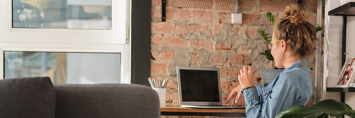 woman working from luxury gcd home office